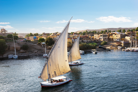 Sailboats on Nile in Aswan