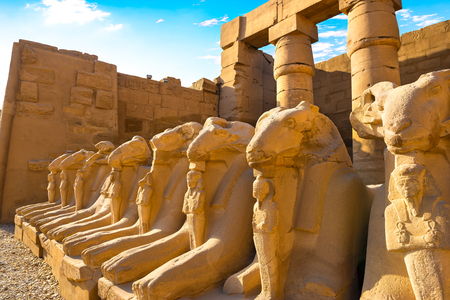 Avenue of Sphinxes in Karnak temple 写真素材