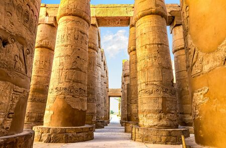 Central colonnade of Karnak 免版税图像