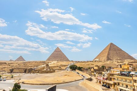 Pyramids of plateau Giza Stock Photo