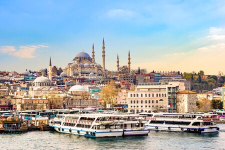 Suleymaniye Camii at sunset 스톡 콘텐츠