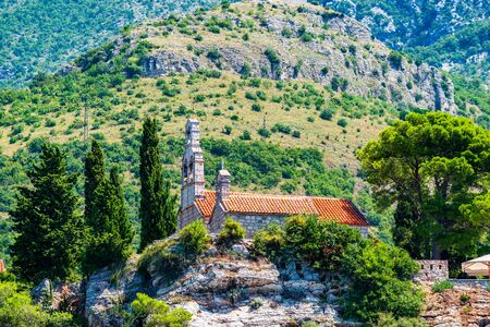 Ancient church on island at sunny summer day