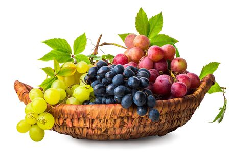 Grape in wicker basket Stock Photo