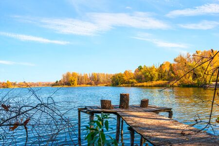 Autumn and wooden pier