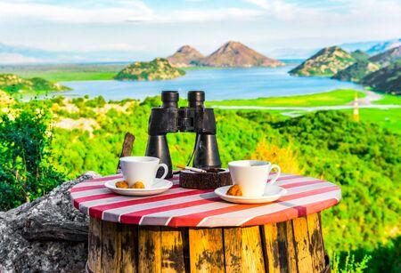 Coffe break in mountains Imagens