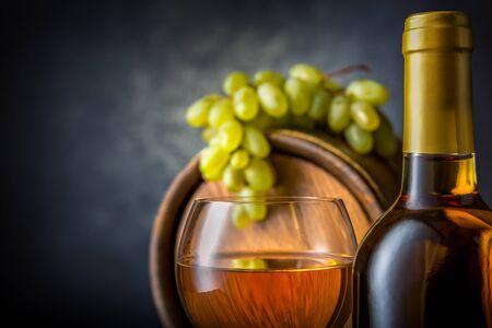 White wine in cellar Imagens