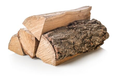 Stack of firewoods isolated on a white background Imagens