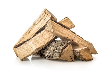 Pile of pine firewoods isolated on a white background
