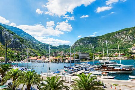 Moored yahts in the harbor of Kotor at summer day, Montenegro