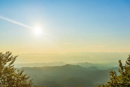 Mountain range and sun