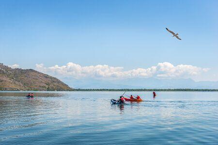 Kayaking on Scadar Lake at summer day in Montenegro