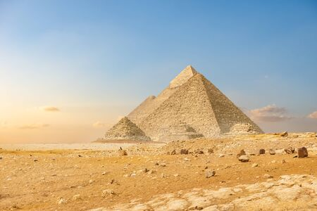 Ancient pyramids in Cairo Imagens