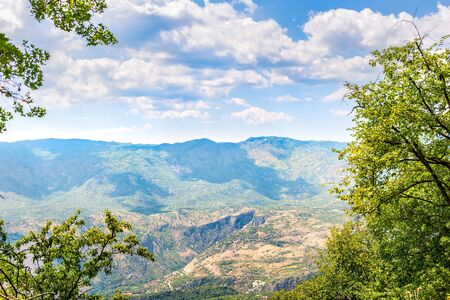 View on the mountains of Montenegro from above at summer day