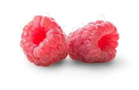 Two juicy raspberries
