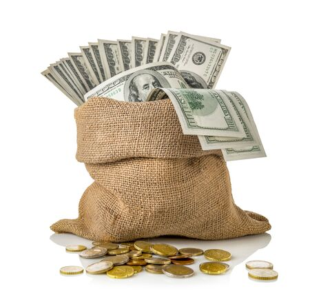 Sack of dollars and coins isolated on a white background