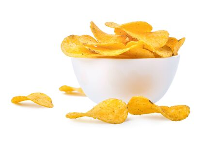 Potato chips in a bowl isolated on a white background
