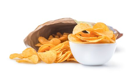 Tasty potato chips in package and bowl isolated on a white background