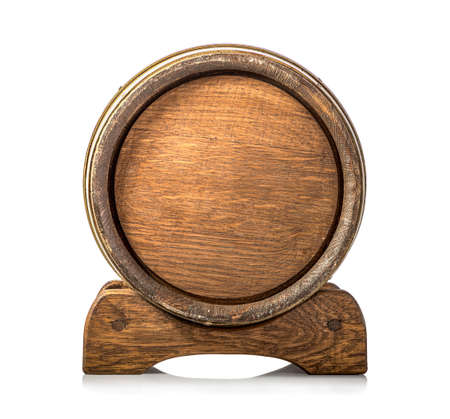 Front view of wooden cask isolated on a white background Imagens