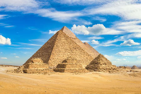 Beautiful view of pyramids under blue sky
