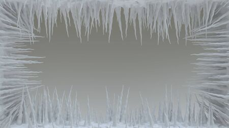 Ice Spikes. Icicle. Ice on the screen. 3D rendering.