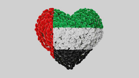 United Arab Emirates. National Day. December 2. Heart shape made out of flowers on white background. 3D rendering.