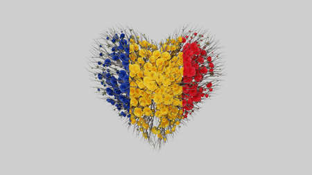 Romania. National Day. 1 December. Great Union Day. Heart shape made out of flowers on white background. 3D rendering.