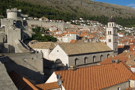 dubrovnik old town fortress and roof tiles photo