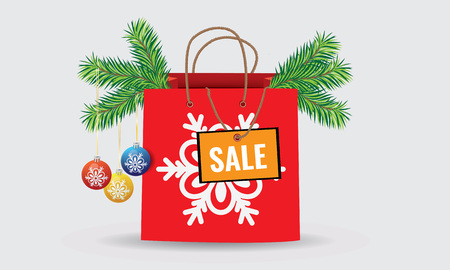 xmass: Xmass commercial discount and sale paper shopping bag Illustration