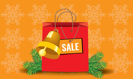 mooie achtergrond: Illustrated shopping xmass package with fir with nice background Stock Illustratie
