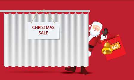 glancing: Artwork of Santa Claus glancing with bag showing big sale
