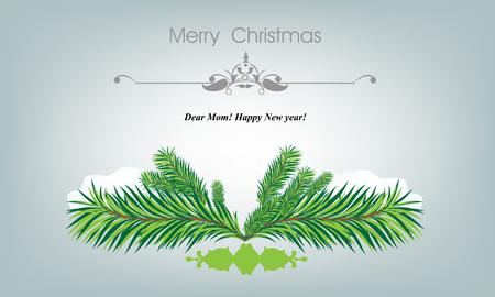 xmass: Xmass card with fir and snowflakes for greeting cards or invitation template