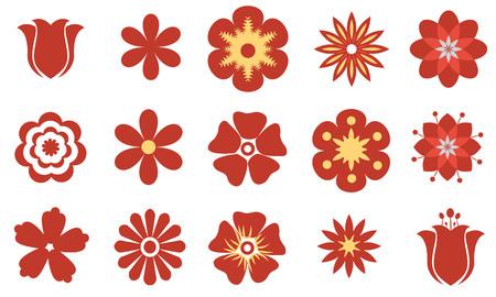 Set von Vektor-flach roten Blumen. Symbol oder Icon-Sammlung. Vektorgrafik