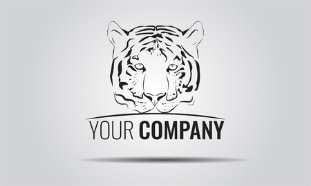 dingbat: Vintage Tiger or mascot emblem symbol. Can be used for T-shirts print, labels, badges, stickers, corporate . Vector illustration.