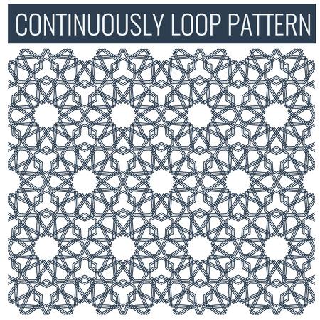 tessellation: Ornamental seamless loop arabic or islamic geometric pattern tiles. Tessellation background with blue lines Illustration