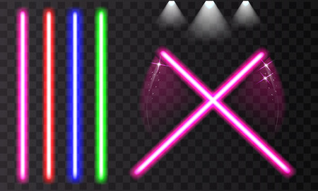 Bright colorful laser beam. Light swords on isolated transparent black background. Vector illustration.