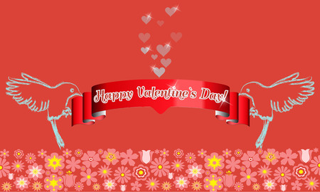 two birds: Beautiful Valentines Day card design. Two birds, red ribbon, flying bubble hearts and flower pattern border in bottom