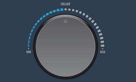 volume knob: Technology music button, volume knob with realistic designed shadow, range scale and light background for internet sites, web user interfaces, UI, applications, apps. Vector illustration.