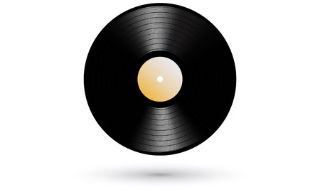 rpm: New gramophone vinyl LP record with red label. Black musical long play album disc 33 rpm. old technology, realistic retro design, vector illustration, isolated on white background. Realistic icon.