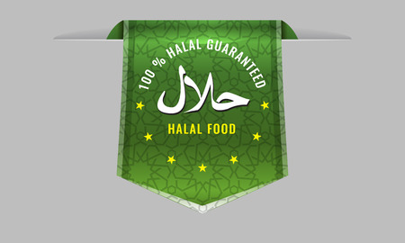 sleek: Vector Halal Products Certified Seal sign with sleek web ribbon banner tag or bookmark. Islamic motif ornament background.