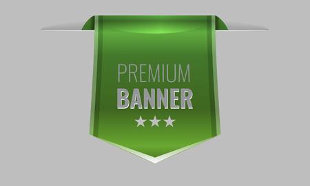 sleek: Sleek green web ribbon or bookmark hanging down. Vector Illustration Illustration