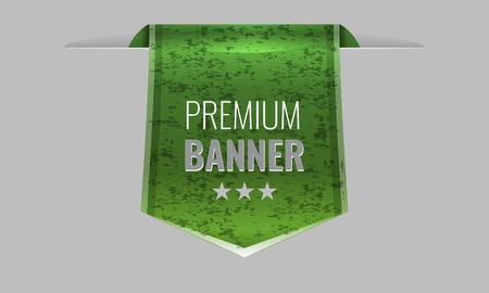 sleek: Sleek green web ribbon or bookmark hanging down with grunge background. Vector Illustration