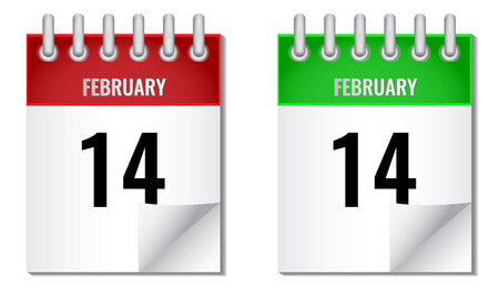 14 february: Vector icon calendar with spiral in different colors. 14 February Valentines day