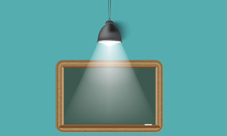 spot light: Creative background, lamp, spot light from up, empty school blackboard place for your text.