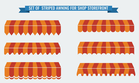 illsutration: Vector illsutration set of striped awnings with two flat color. Orange Illustration