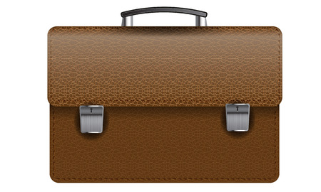 business briefcase: Brown leather texture business briefcase isolated on white photo-realistic vector illustration Illustration
