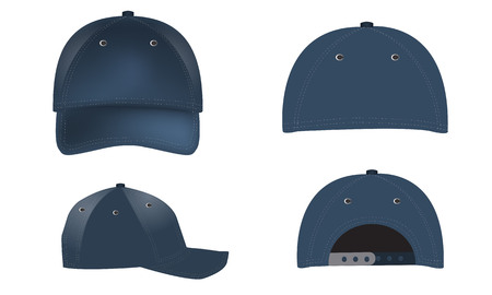 Vector set of realistic blue baseball caps - front, back and side views. Summer cap. Realistic shadow and lighting color effects