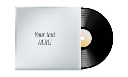 text room: Vinyl record in blank cover envelope. Room empty plase for your text. Vector illustration