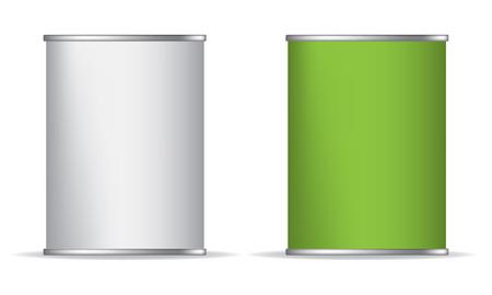Blikken doos kunnen verpakken container geïsoleerde vector illustratie op een witte achtergrond. Groen en wit. Weergave Mock-up Stockfoto - 53512294