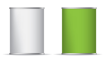 Tin box can packaging container isolated vector illustration on white background. Green and white. Display Mock-up Vettoriali