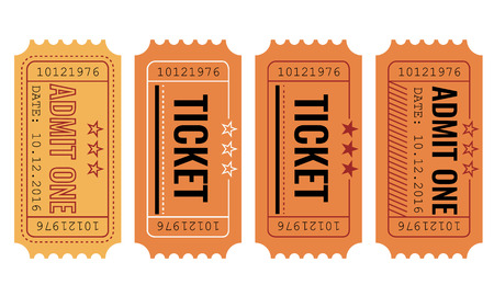 Vector set of vintage paper admit one and ticket samples icon.